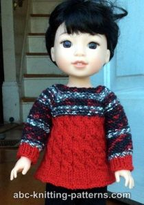 Cable Tunic for 14 inch dolls