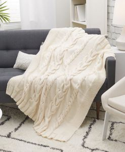 Luxurious Cabled Throw