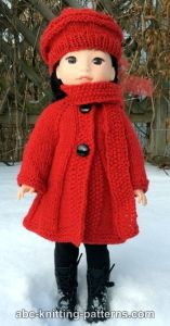 Doll Broadway Coat with Scarf Collar and Beret