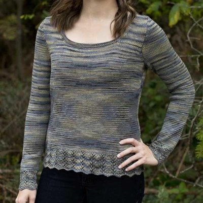 2913df4482f7 A free knitting pattern using sport-weight yarn. Pattern attributes and  techniques include  Lace edge
