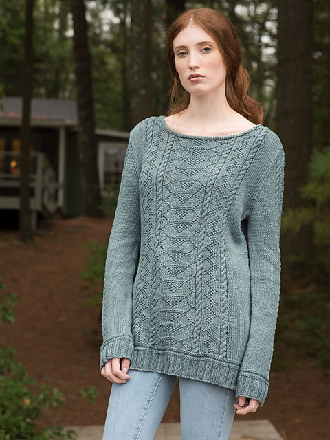 fdd2f80d09a4 Free knitting pattern using worsted-weight yarn. Pattern attributes and  techniques include  Boatneck