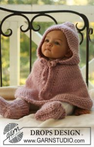 Knitted Poncho with Hood and Booties