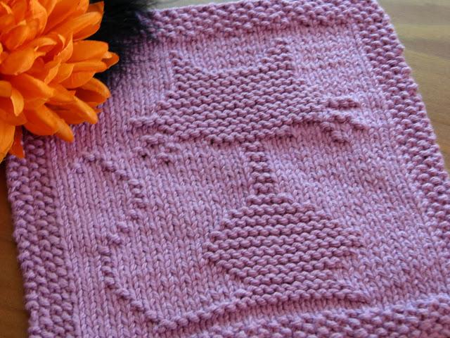 Knitting Patterns Galore - Halloween Cat Dishcloth