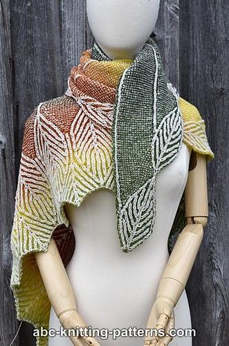 Knitting Patterns Galore Turning Leaves Brioche Shawl