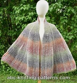 Brioche Fan Coral Shawl