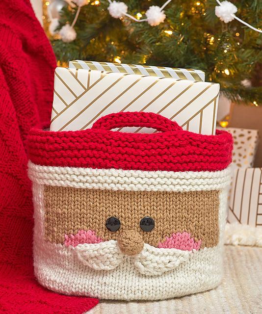 Knitting Patterns Galore Jolly Santa Basket