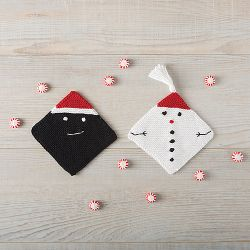 Snowman and Sassy Coal Dishcloths