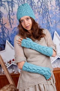 Mint Cable Fingerless Gloves