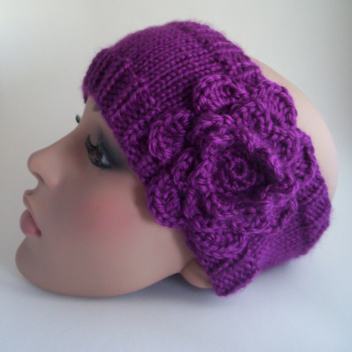 Knit Headband Pattern With Crochet Flower : Knitting Patterns Galore - The Whitney Headband