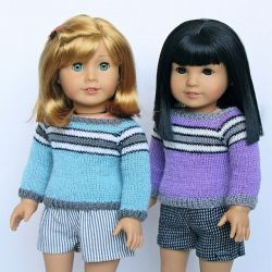 "Three-Stripe Sweater for 18"" Dolls"