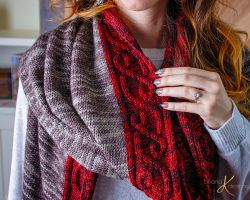 Traveling Vine Cable Knit Shawl