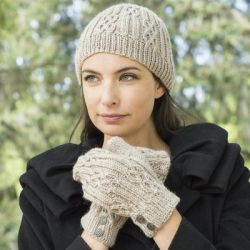 Celtic Cable and Rib Beanie and Mitten