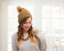 Quilted Lattice Knit Hat