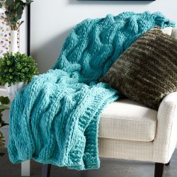 Bernat Jumbo Tuck Stitch Shadow Cables Blanket