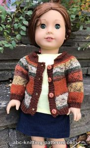 © Elaine Phillips American Girl Doll Faux Fair Isle Cardigan