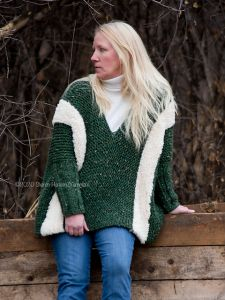 Fur Striped Poncho Sweater