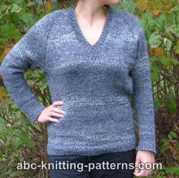 Knitting Patterns Galore Top Down V Neck Raglan Sweater