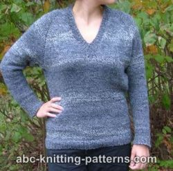 Top Down V-Neck Raglan Sweater