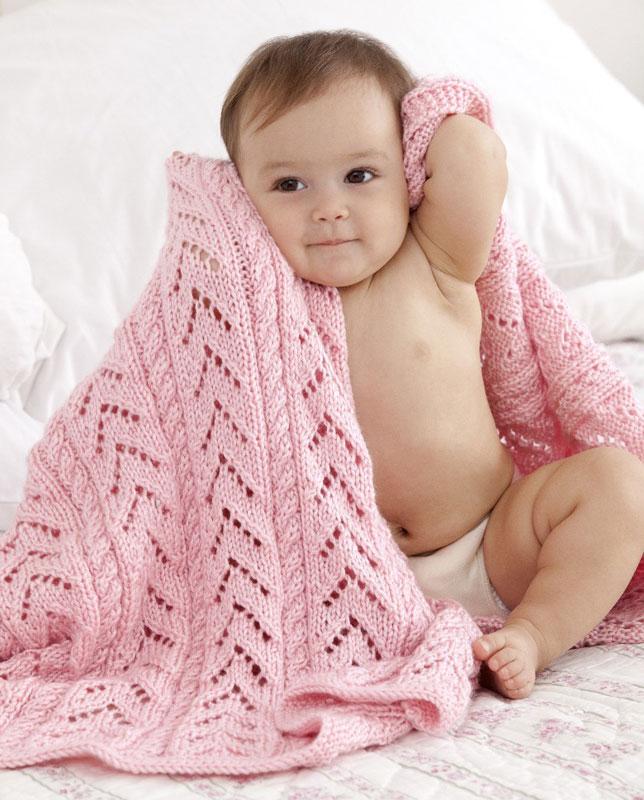 Knitting Pattern For Baby Girl Blanket : Knitting Patterns Galore - Little Girl Pink Baby Blanket