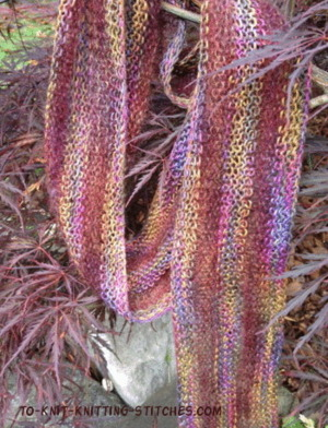 Knitting Patterns Galore - Pretty Striped Summer Scarf