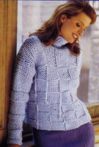 Baby Funnel-Neck Box-Patterned Pullover