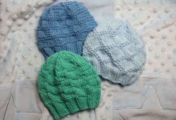 Knitting Patterns Galore Three Textured Baby Hats