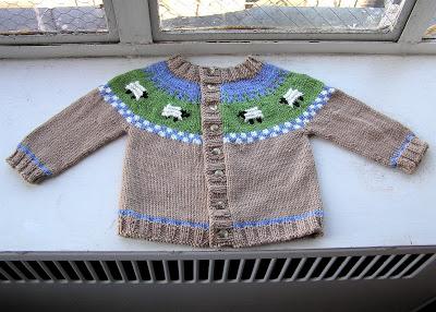 Knitting Patterns Galore Sheep Yoke Baby Cardigan