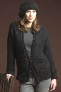 Cardigan with Stitch Detail & Beret