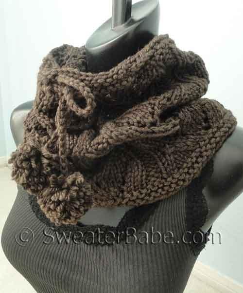 Knitting Patterns Galore Drawstring Lace Cowl