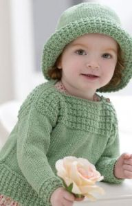 Baby Boat Neck Sweater and Sun Hat