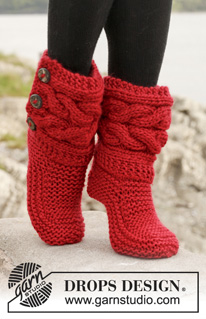 Knitting Patterns Galore Little Red Riding Slippers