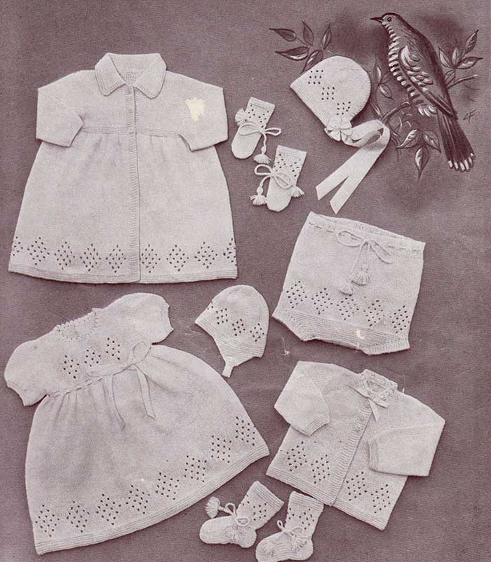 Knitting Patterns For Baby Layettes : Knitting Patterns Galore - Lullaby Baby Layette
