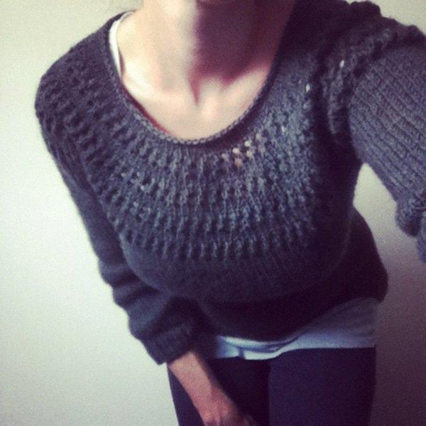 Knitting Pattern Yoke Cardigan : Knitting Patterns Galore - Eyelet Yoke Sweater