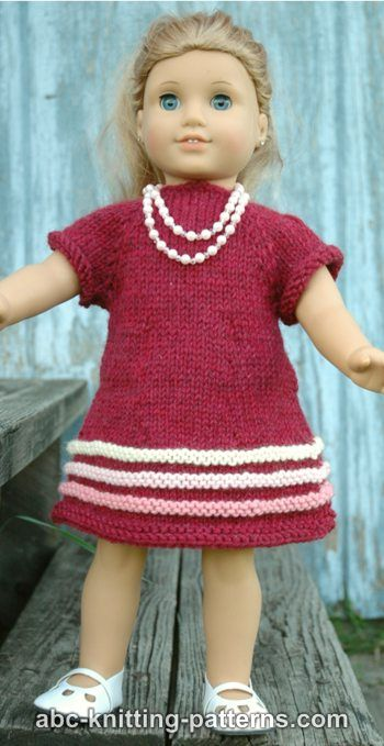 Knitting Patterns Galore - American Girl Doll Raglan Banded Dress