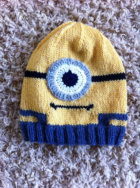 Knitting Patterns Galore - Minion In Overalls Hat