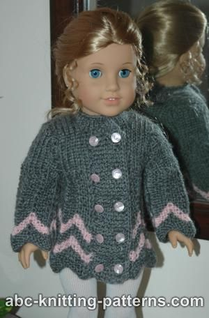 American Girl Doll knitted chevron jacket with double row of buttons
