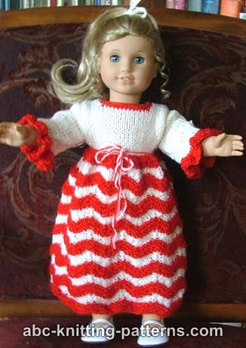 Knitting Patterns Galore American Girl Doll Candy Cane Dress