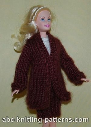 Knitting Patterns Galore Barbie Elegant 2 Piece Suit Long Coat