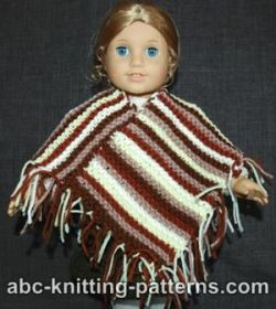 American Girl Doll Easy Garter Stitch Poncho from Leftover Yarn