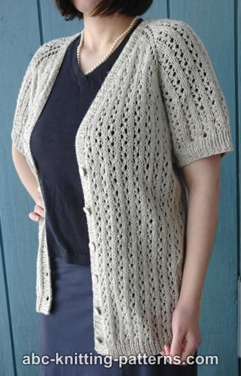 Knitting Patterns Galore - Top-Down Raglan Summer Lace Cardigan