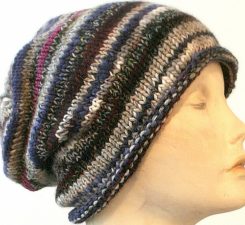 Knitting Patterns Galore - Easy Scrap-Buster Slouch Hat