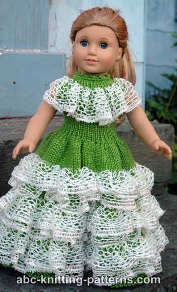 Knitting Patterns Galore American Girl Doll Southern Belle Dress