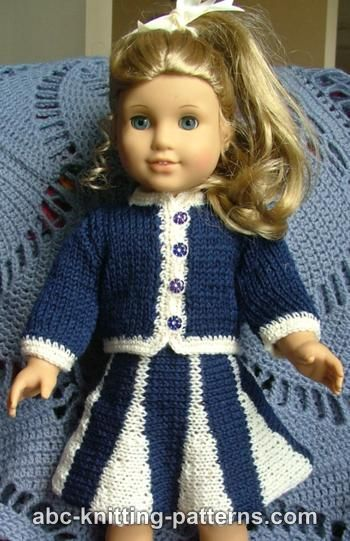 Knitting Patterns Galore American Girl Doll Suit With Godet Skirt