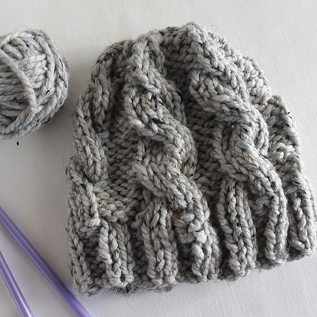 Knitting Patterns Galore - Lula Louise Chunky Cable Knit Hat