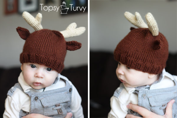 Knitting Pattern For Reindeer Hat : Knitting Patterns Galore - Reindeer Antler Baby Beanie