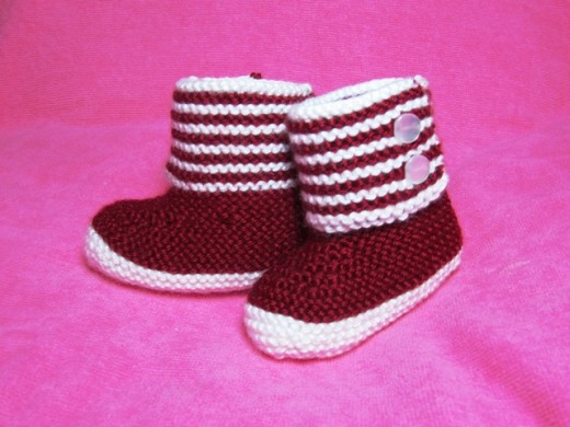 Knitting Patterns Galore Boot Style Red And White Baby Booties