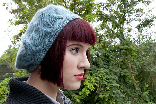 Knitting Patterns Galore Simple Beret With A Cable Brim