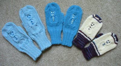Knitting Patterns Galore - Cabled Snowman Mittens