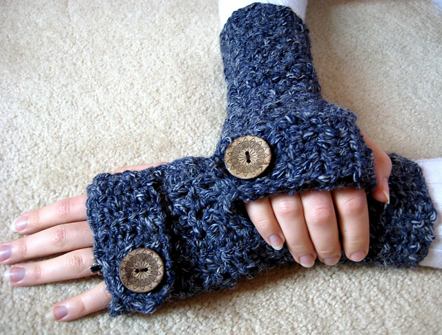 Knitting Patterns Galore Easy Textured Fingerless Gloves