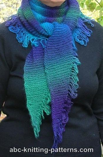 Knitting Patterns Galore - Small Garter Stitch Triangular Shawl with Unravele...